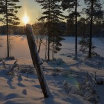 Nature in Finland and the Lakes winterly sunset