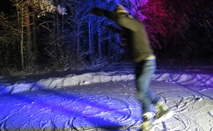 Skating in the forest